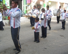 Marching band during the St.George's Caye Day parade in San Ignacio Belize