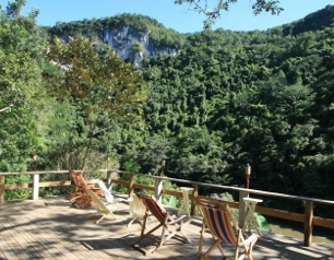 The Patio at Black Rock Lodge overlooking Black Rock Canyon just outside San Ignacio Belize.