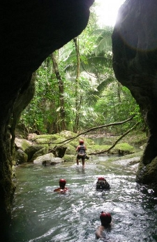 The mouth of the ATM cave on the way out. San Ignacio Belize.