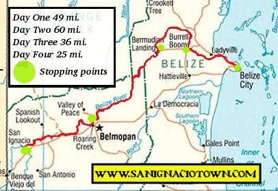 La Ruta Maya Belize the Map of the course.  San Ignacio to Belize in 4 days.