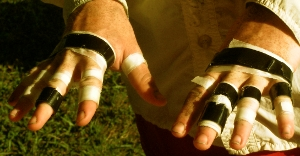 La Ruta Maya in San Ignacio Belize the taped up hands of Mr. Lorenz after a day or so of paddeling.